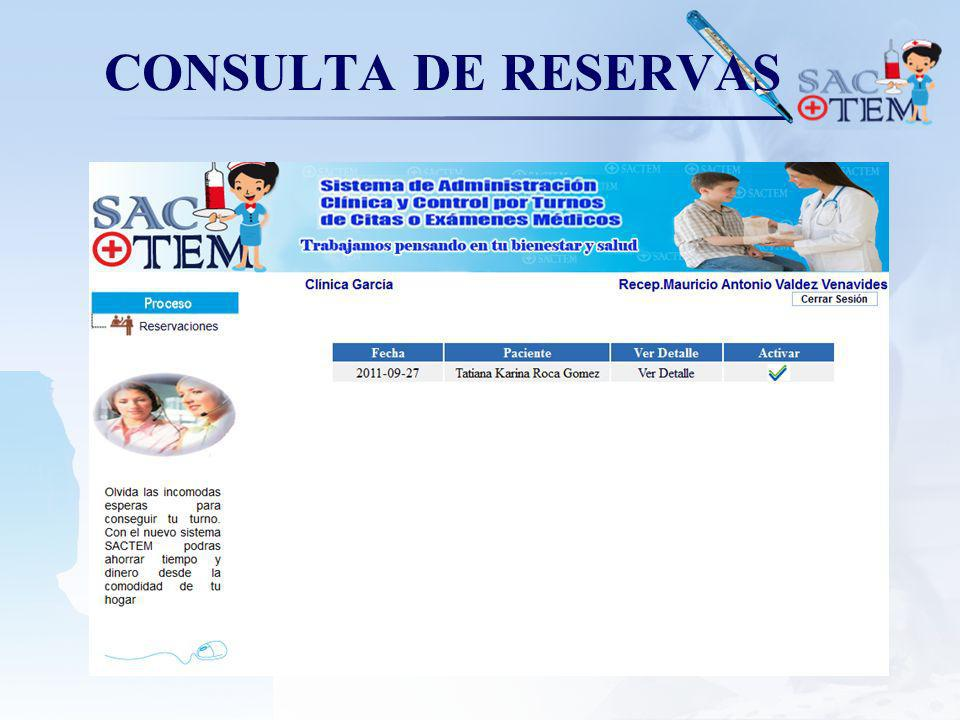 CONSULTA DE RESERVAS