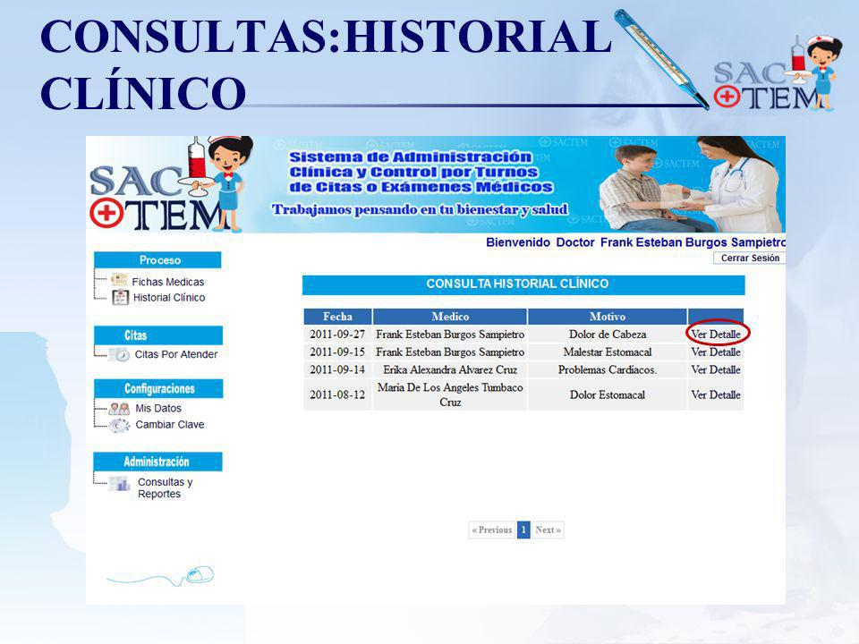 CONSULTAS:HISTORIAL CLÍNICO