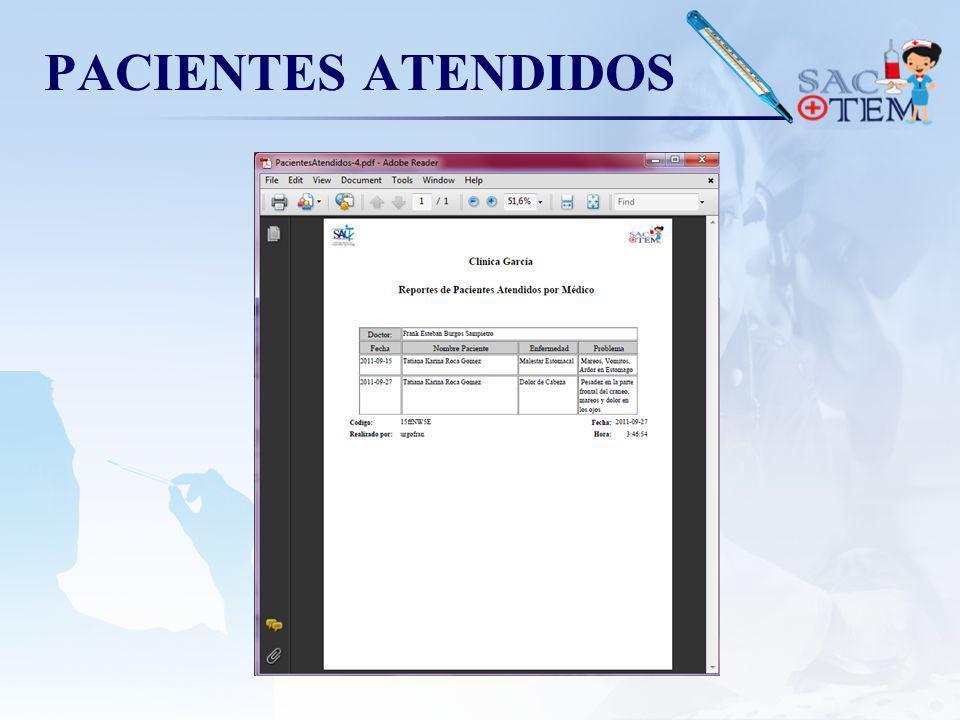PACIENTES ATENDIDOS