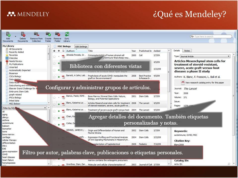 ¿Qué es Mendeley Biblioteca con diferentes vistas