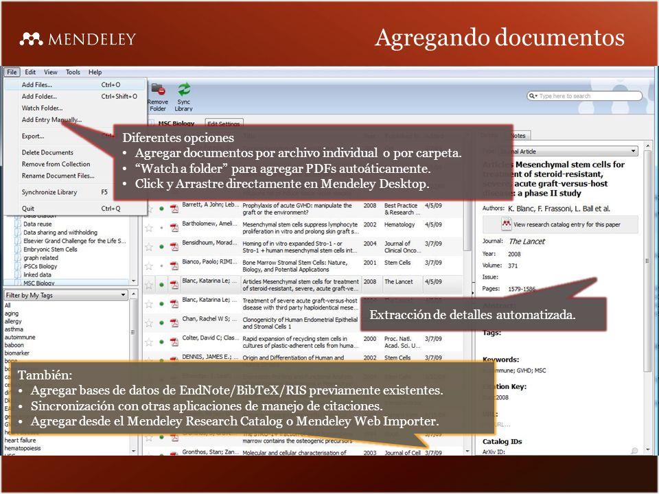 Agregando documentos Diferentes opciones