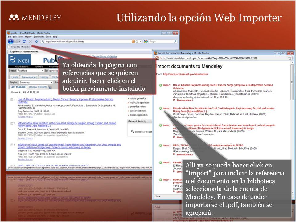 Utilizando la opción Web Importer