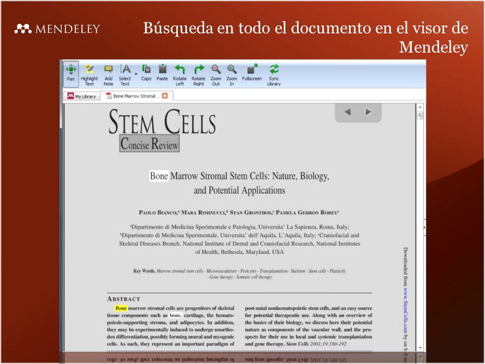 Búsqueda en todo el documento en el visor de Mendeley