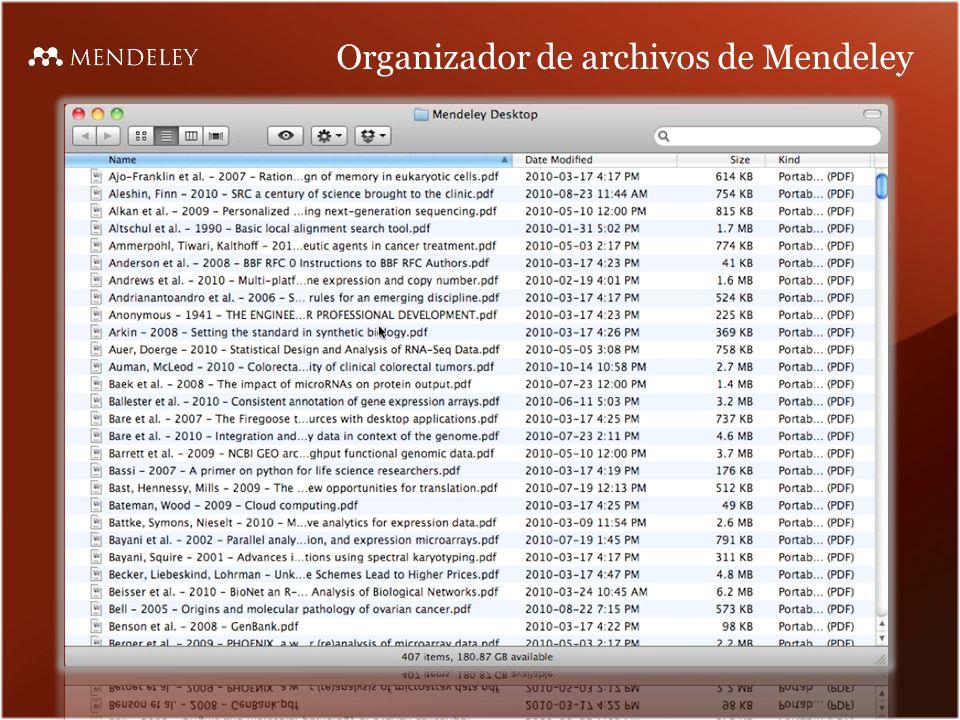 Organizador de archivos de Mendeley