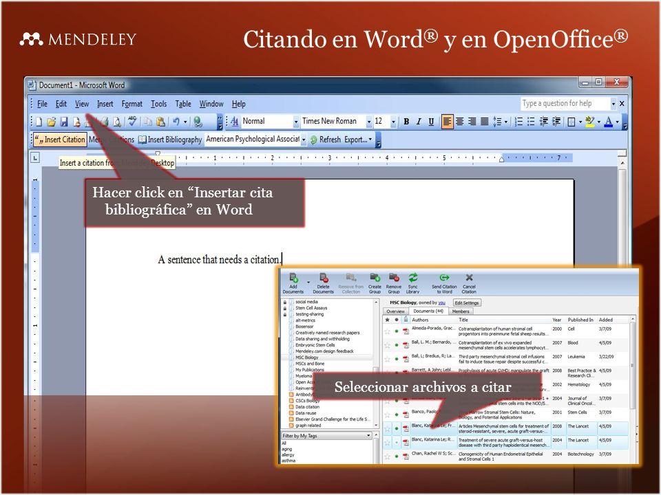 Citando en Word® y en OpenOffice®