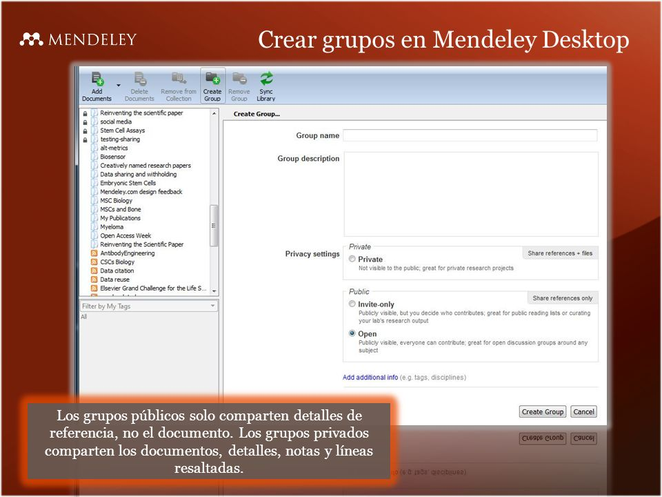Crear grupos en Mendeley Desktop
