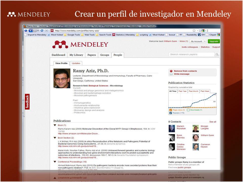 Crear un perfil de investigador en Mendeley