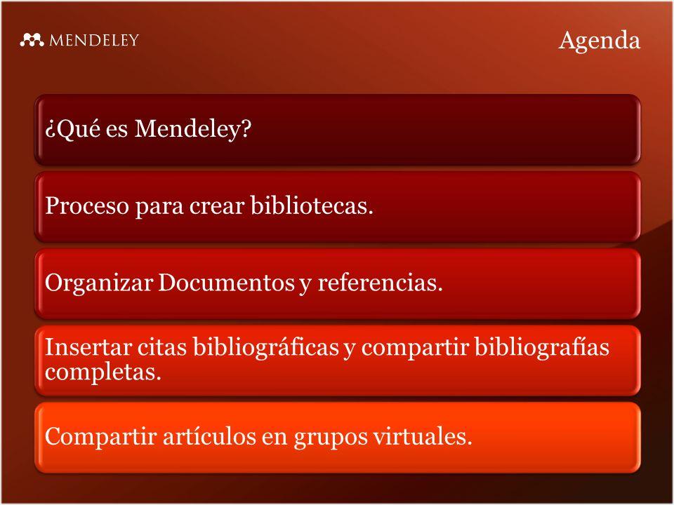 Agenda ¿Qué es Mendeley Proceso para crear bibliotecas.