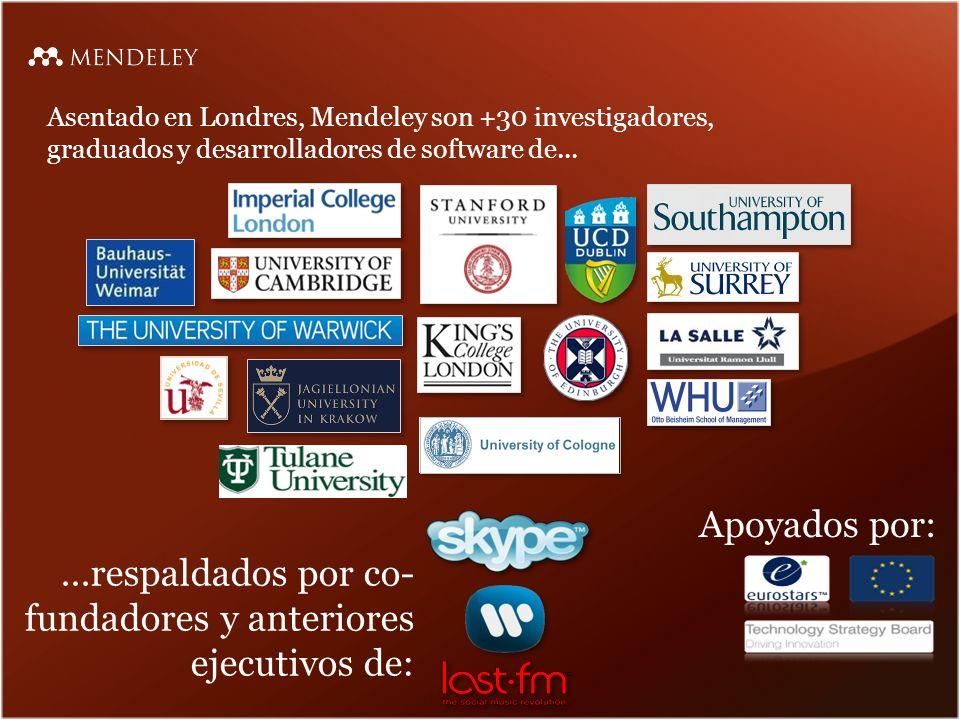 ...respaldados por co-fundadores y anteriores ejecutivos de: