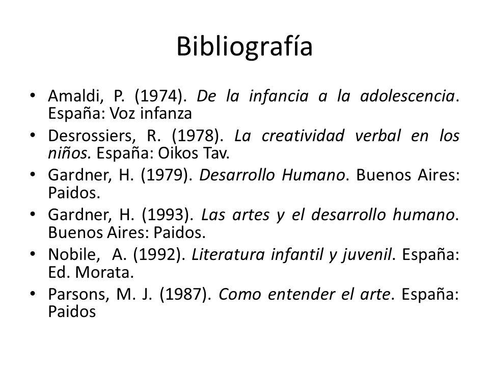 Bibliografía Amaldi, P. (1974). De la infancia a la adolescencia. España: Voz infanza.
