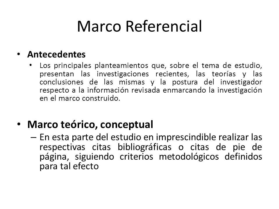 Marco Referencial Marco teórico, conceptual Antecedentes