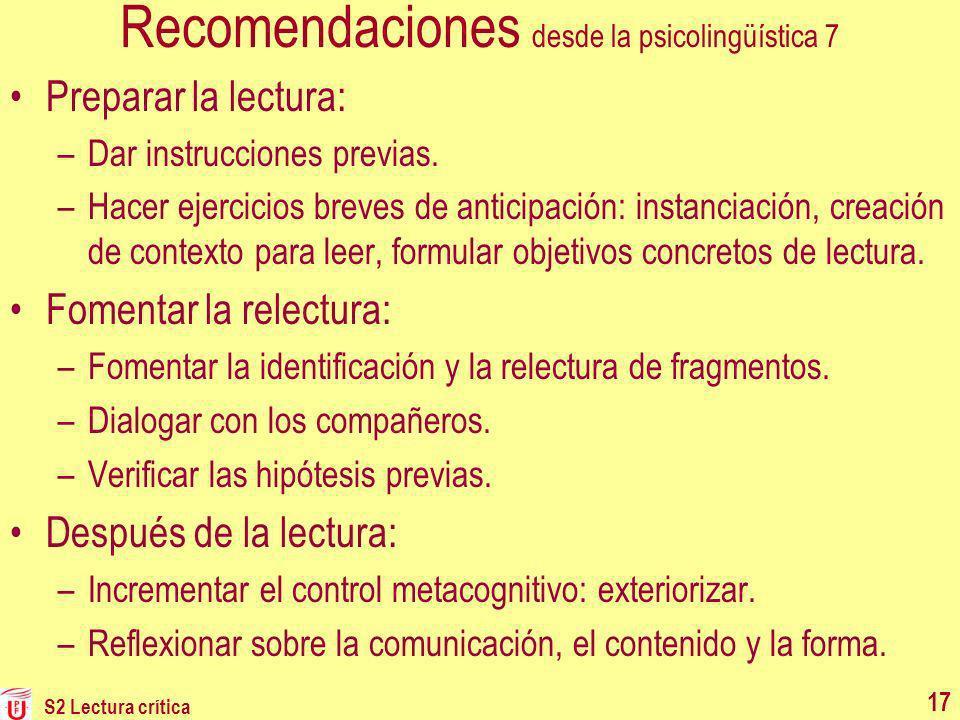Recomendaciones desde la psicolingüística 7