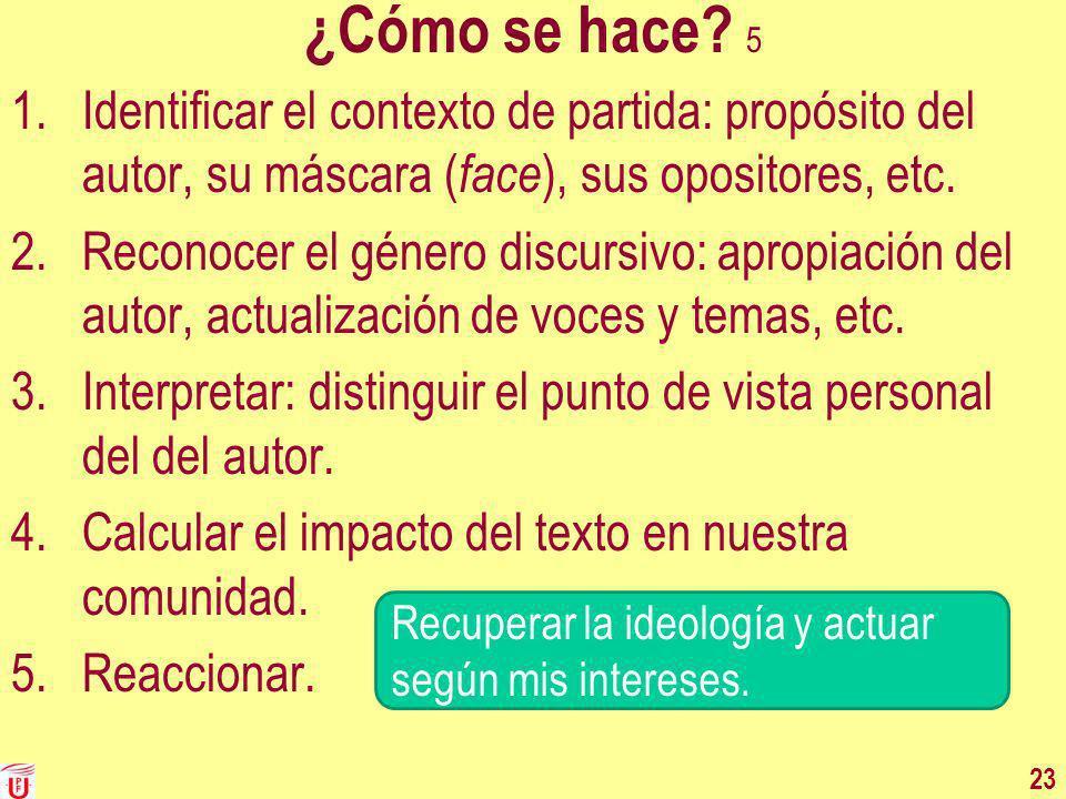 ¿Cómo se hace 5 Identificar el contexto de partida: propósito del autor, su máscara (face), sus opositores, etc.