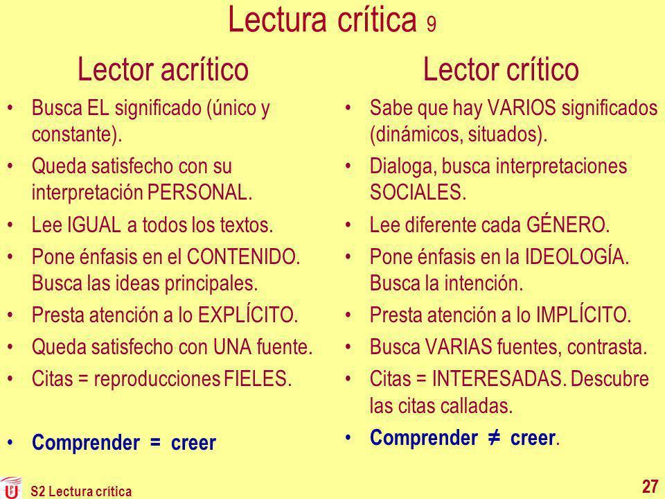 Lectura crítica 9 Lector acrítico Lector crítico