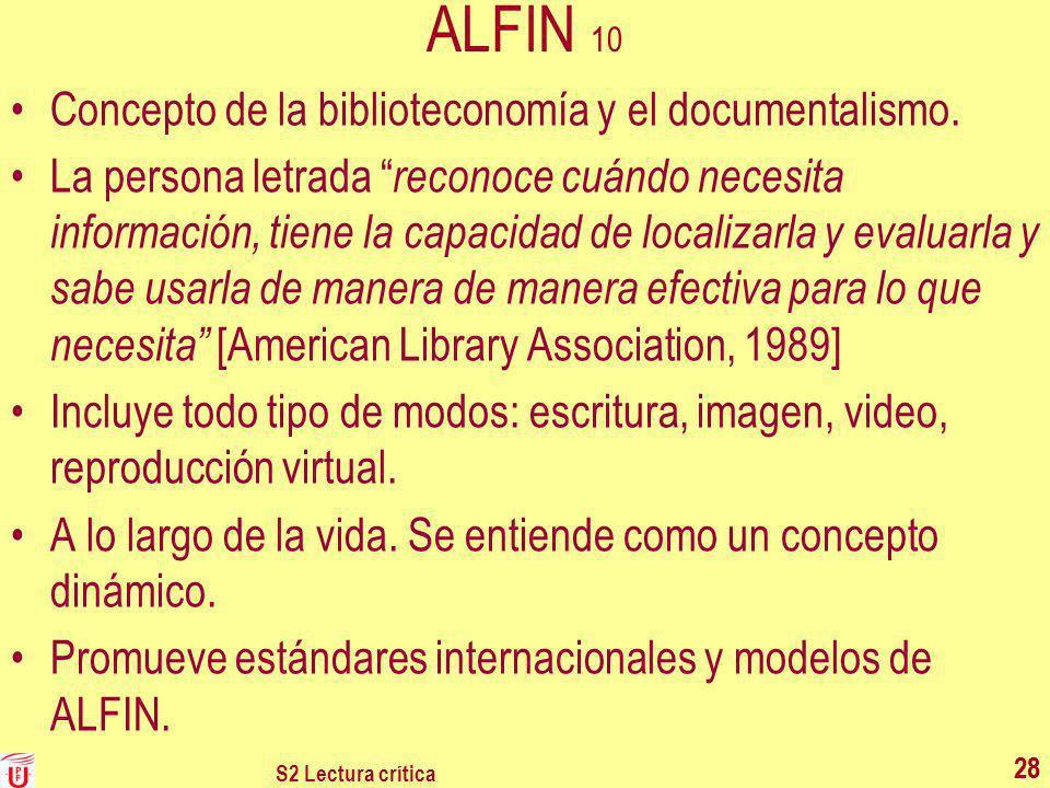 ALFIN 10 Concepto de la biblioteconomía y el documentalismo.
