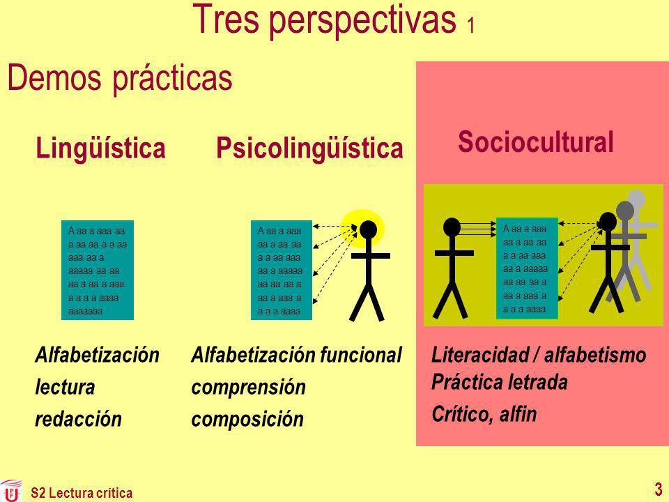 Tres perspectivas 1 Demos prácticas Sociocultural Lingüística