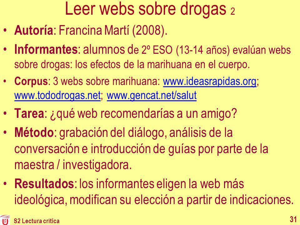 Leer webs sobre drogas 2 Autoría: Francina Martí (2008).