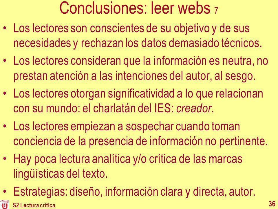 Conclusiones: leer webs 7