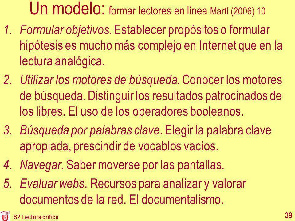 Un modelo: formar lectores en línea Martí (2006) 10