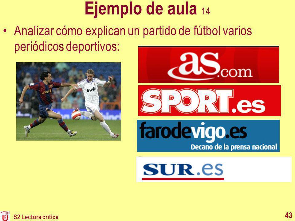 Ejemplo de aula 14 Analizar cómo explican un partido de fútbol varios periódicos deportivos: S2 Lectura crítica.