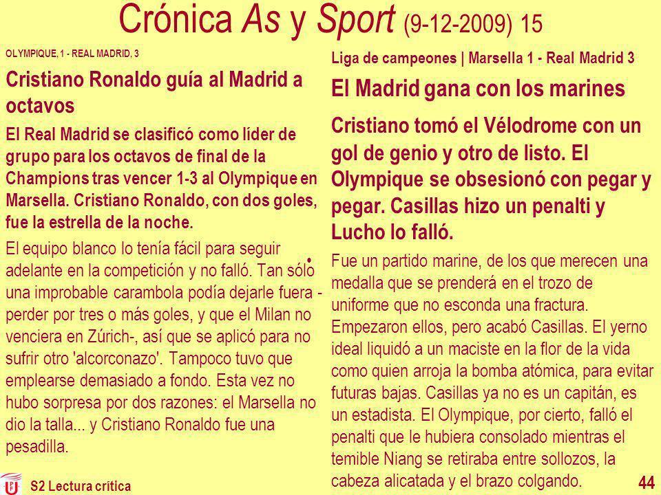 Crónica As y Sport (9-12-2009) 15 OLYMPIQUE, 1 - REAL MADRID, 3. Cristiano Ronaldo guía al Madrid a octavos.