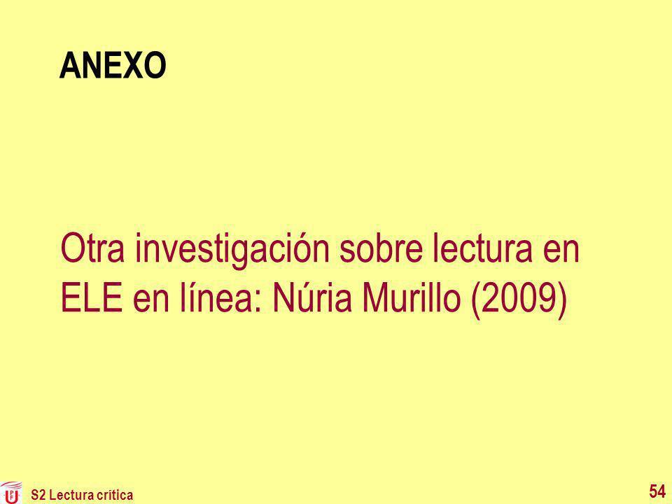 Otra investigación sobre lectura en ELE en línea: Núria Murillo (2009)