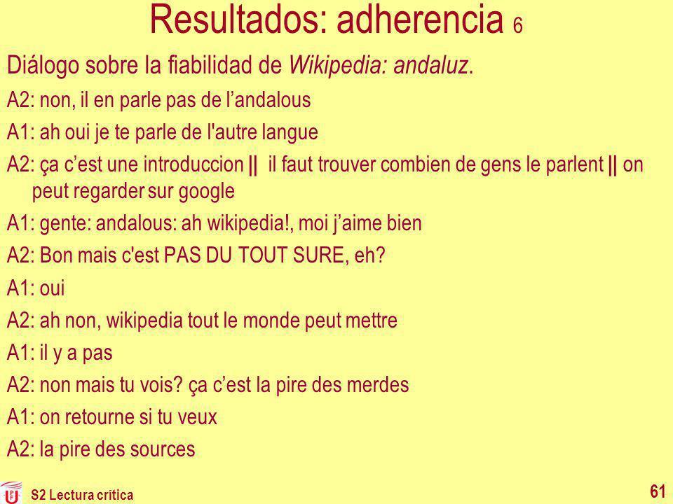Resultados: adherencia 6