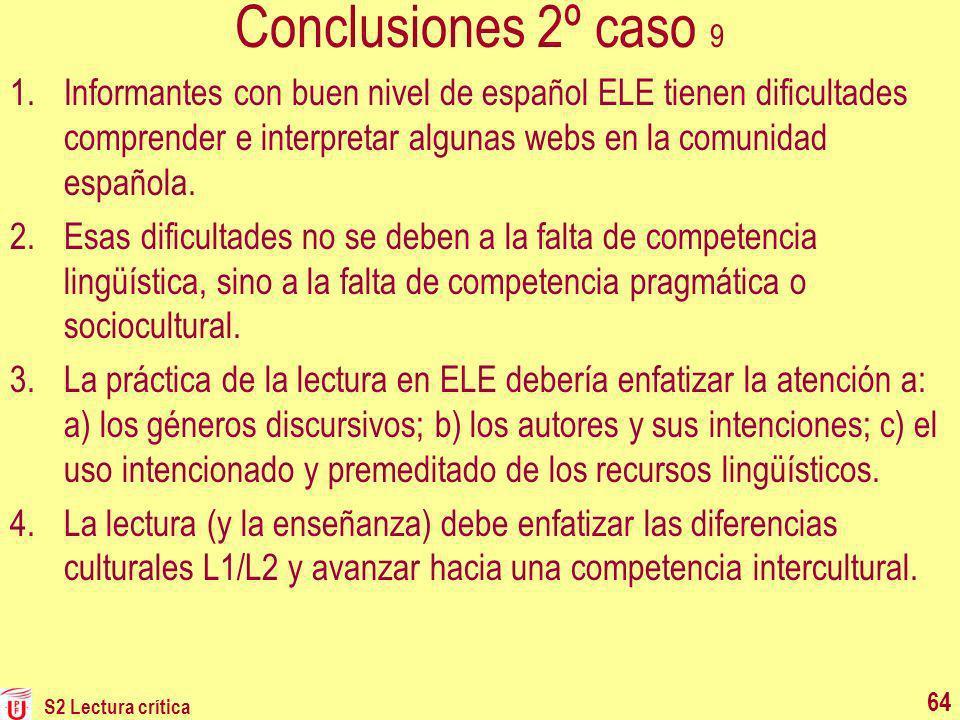 Conclusiones 2º caso 9 Informantes con buen nivel de español ELE tienen dificultades comprender e interpretar algunas webs en la comunidad española.