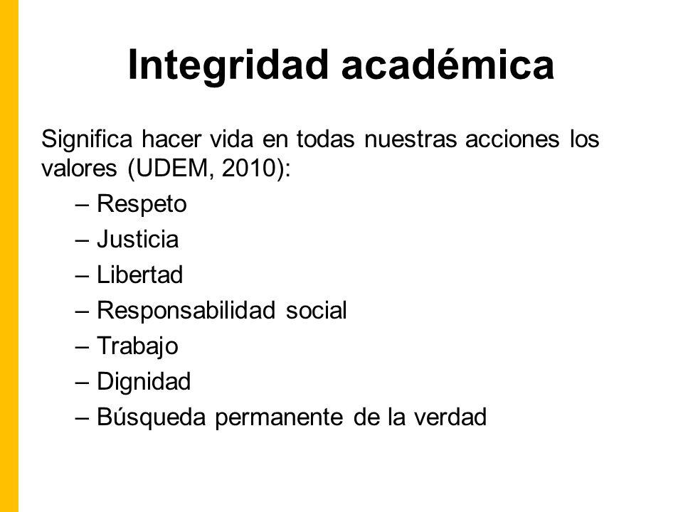 Integridad académica Significa hacer vida en todas nuestras acciones los valores (UDEM, 2010): Respeto.