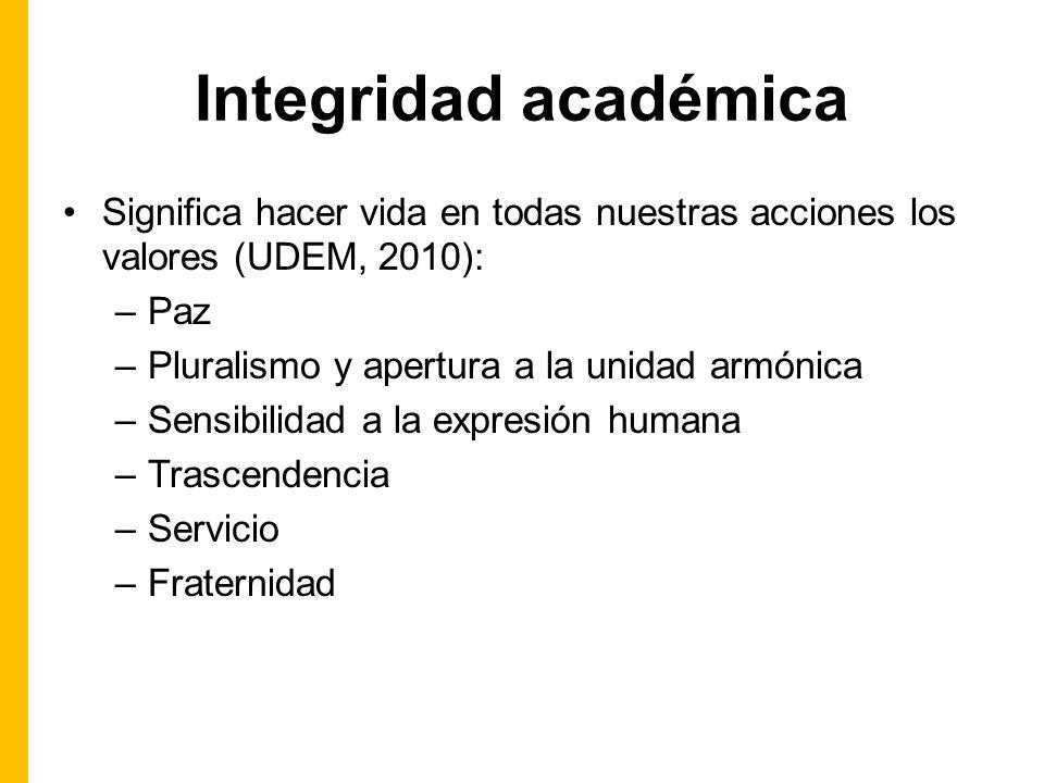 Integridad académica Significa hacer vida en todas nuestras acciones los valores (UDEM, 2010): Paz.