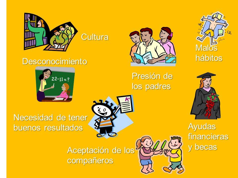 Cultura Malos. hábitos. Desconocimiento. Presión de. los padres. Necesidad de tener. buenos resultados.