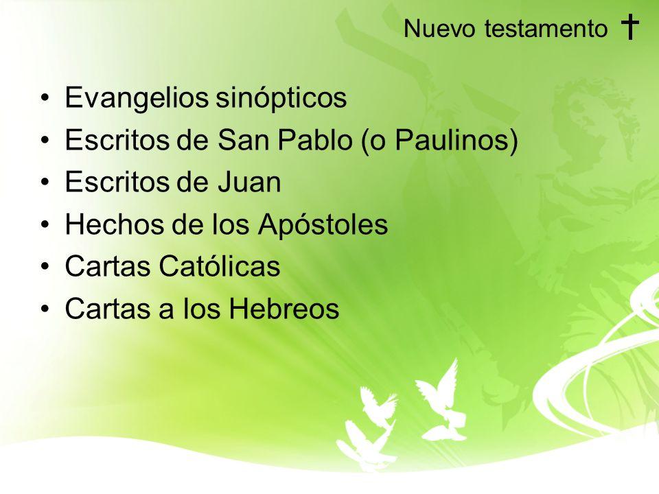 Evangelios sinópticos Escritos de San Pablo (o Paulinos)