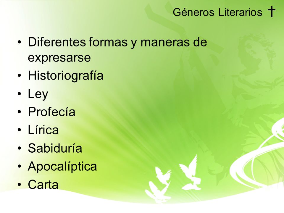 Diferentes formas y maneras de expresarse Historiografía Ley Profecía