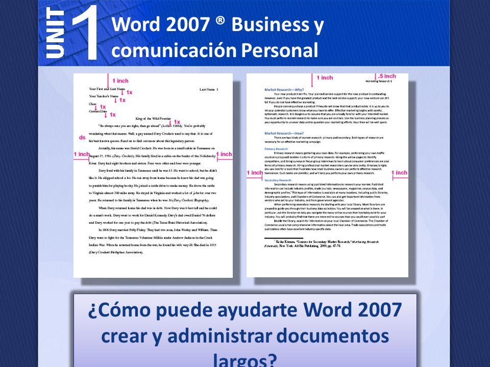 ¿Cómo puede ayudarte Word 2007 crear y administrar documentos largos