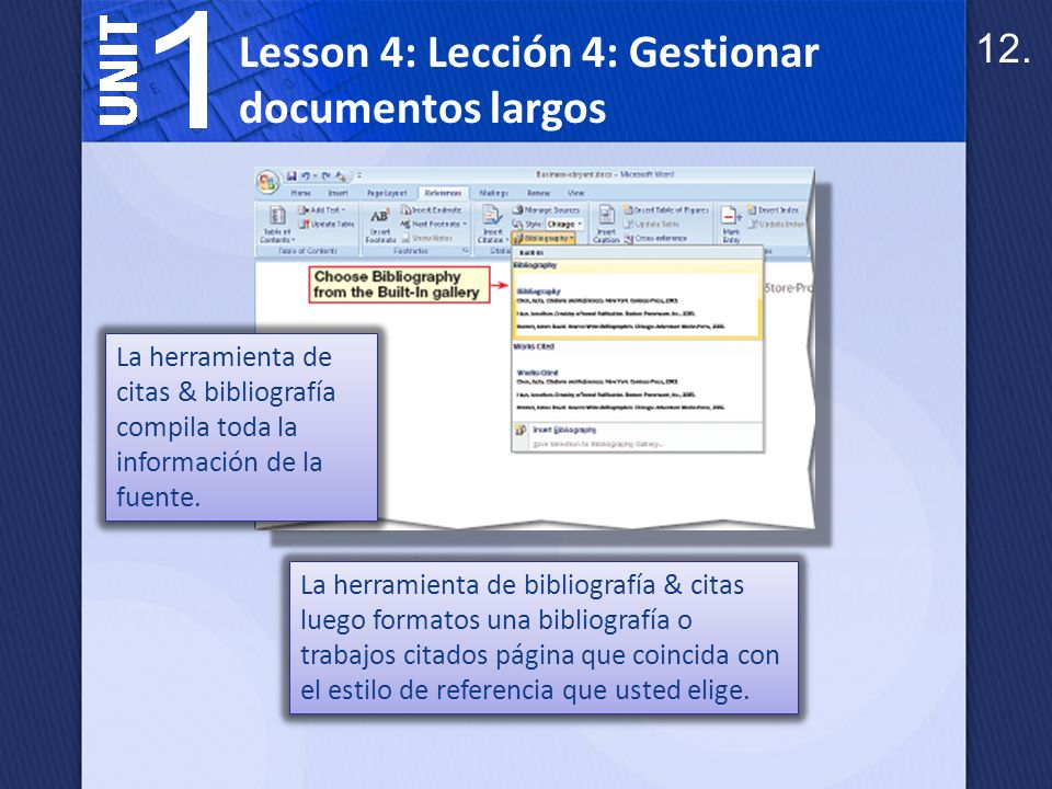 Lesson 4: Lección 4: Gestionar documentos largos
