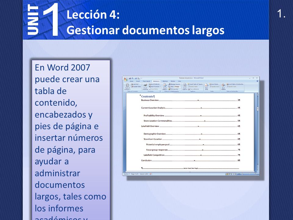 Gestionar documentos largos