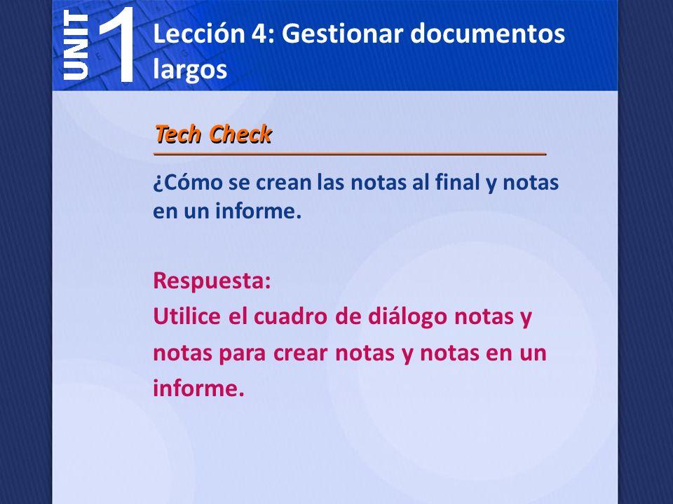 Lección 4: Gestionar documentos largos