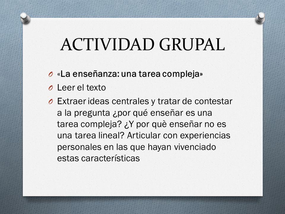 ACTIVIDAD GRUPAL «La enseñanza: una tarea compleja» Leer el texto