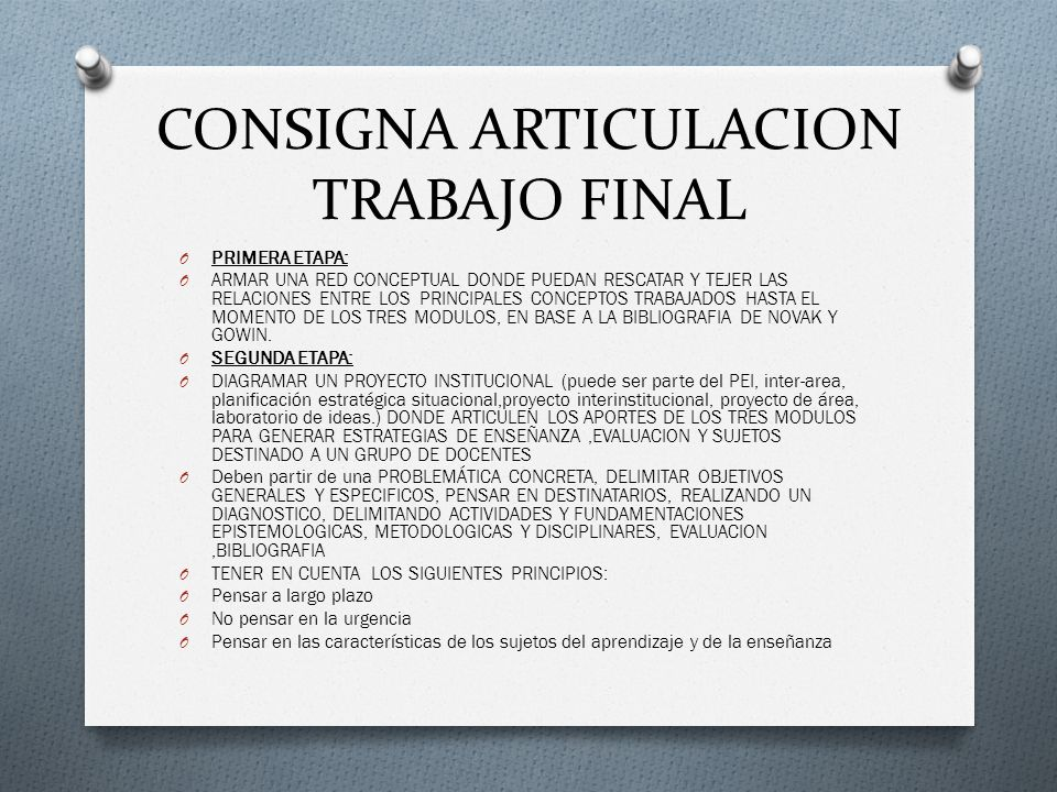 CONSIGNA ARTICULACION TRABAJO FINAL