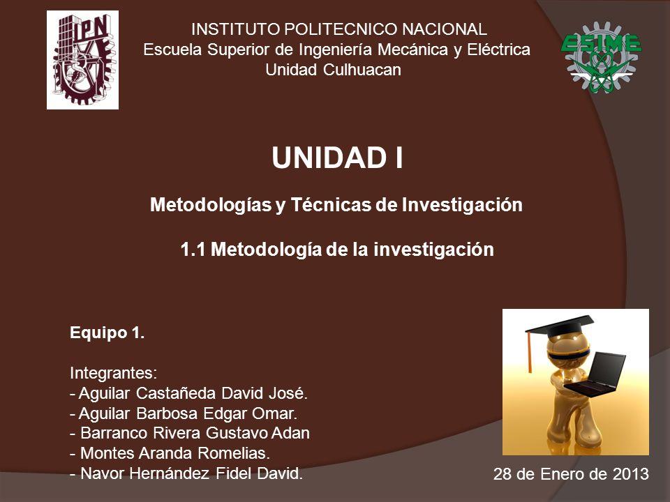 UNIDAD I Metodologías y Técnicas de Investigación