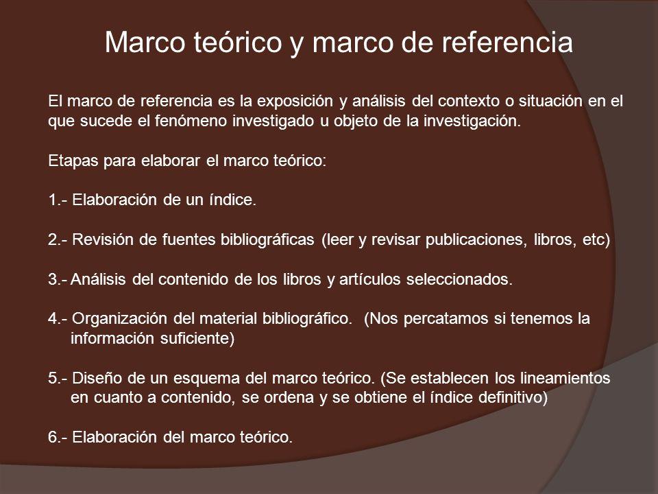Marco teórico y marco de referencia