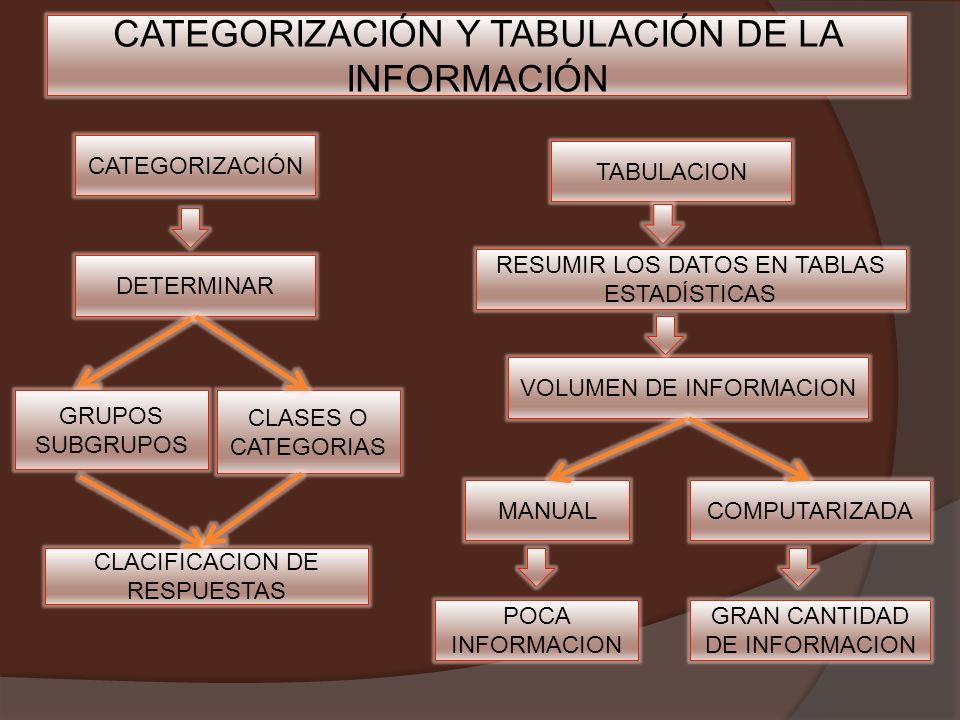 CATEGORIZACIÓN Y TABULACIÓN DE LA INFORMACIÓN