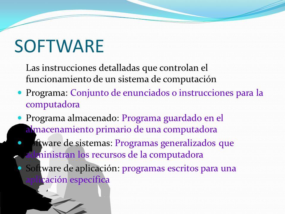 SOFTWARE Las instrucciones detalladas que controlan el funcionamiento de un sistema de computación.