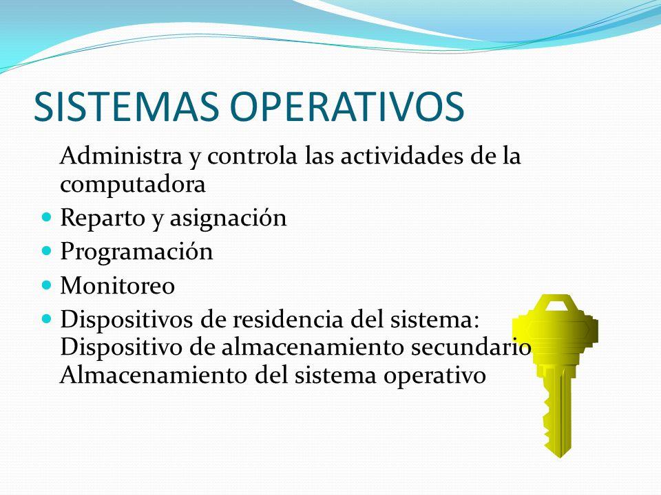 SISTEMAS OPERATIVOS Administra y controla las actividades de la computadora. Reparto y asignación.