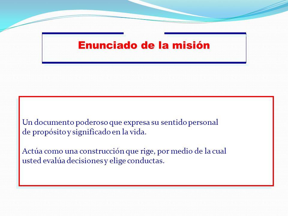 Enunciado de la misión Un documento poderoso que expresa su sentido personal. de propósito y significado en la vida.