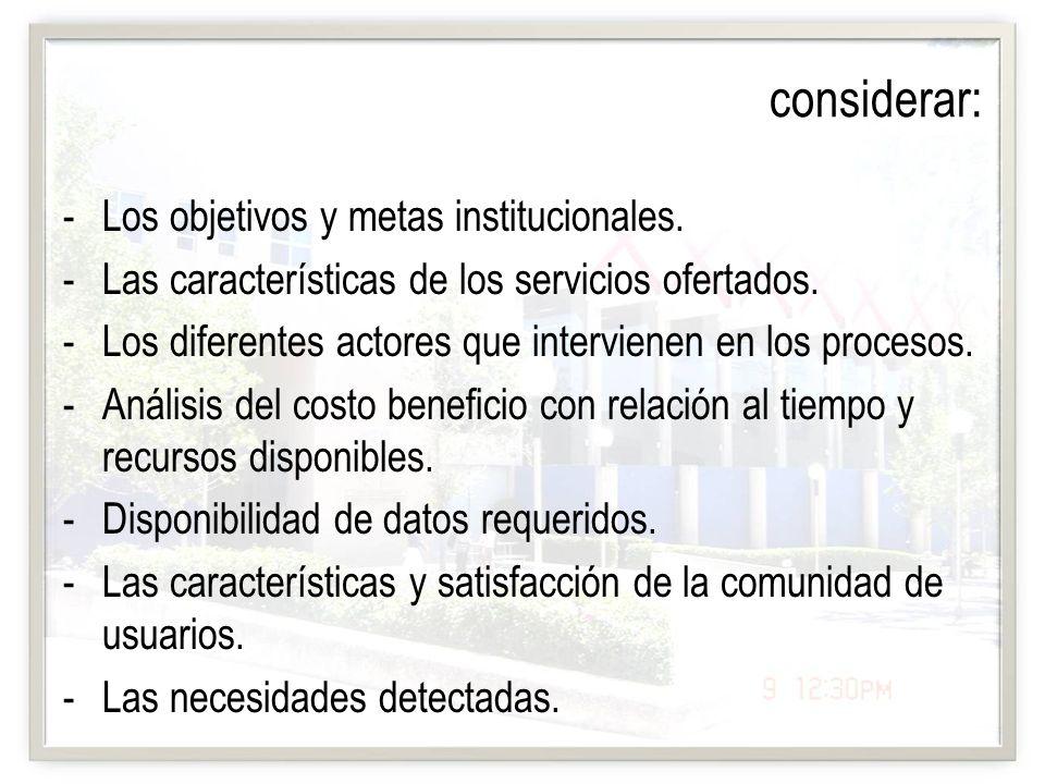 considerar: Los objetivos y metas institucionales.