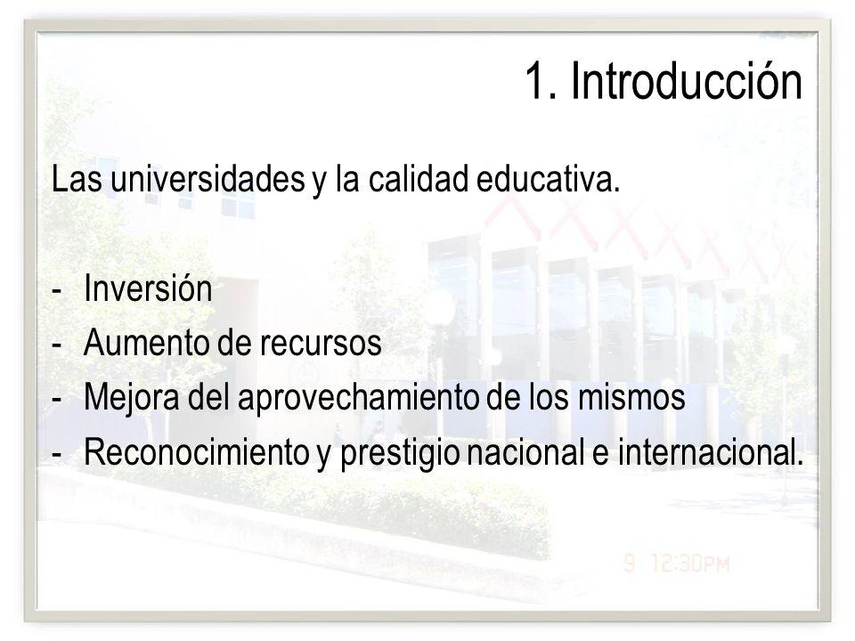 1. Introducción Las universidades y la calidad educativa. Inversión