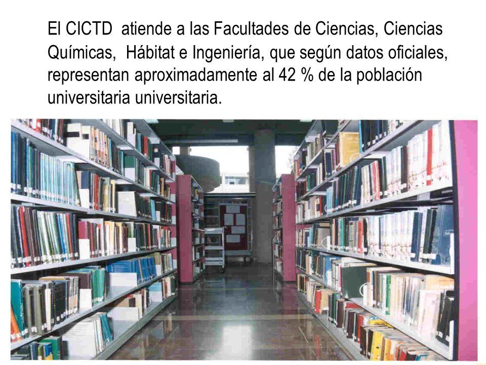 El CICTD atiende a las Facultades de Ciencias, Ciencias Químicas, Hábitat e Ingeniería, que según datos oficiales, representan aproximadamente al 42 % de la población universitaria universitaria.
