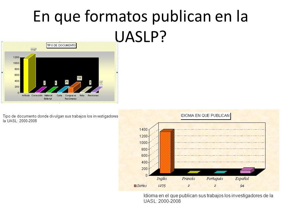 En que formatos publican en la UASLP