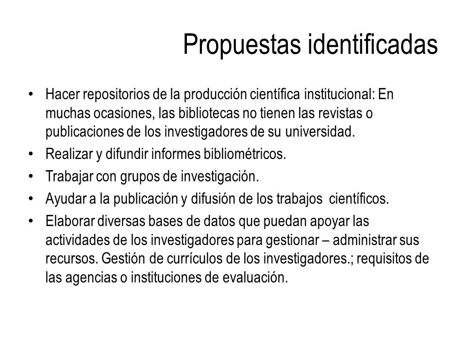 Propuestas identificadas
